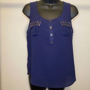 Blue Sleeveless Tank top with Studded Pockets #F15